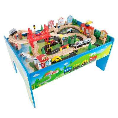 32 in. L Multi-Colored Wooden Train Set and Table