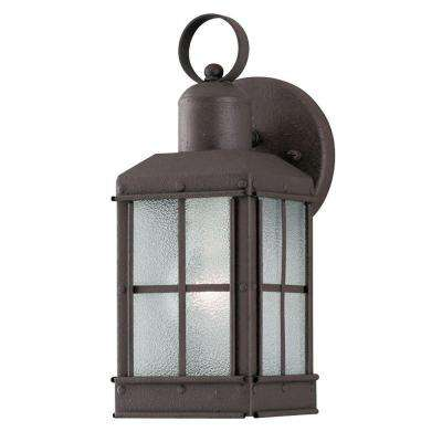 1-Light Outdoor Textured Rust Patina Wall Lantern with Ice Glass Panels