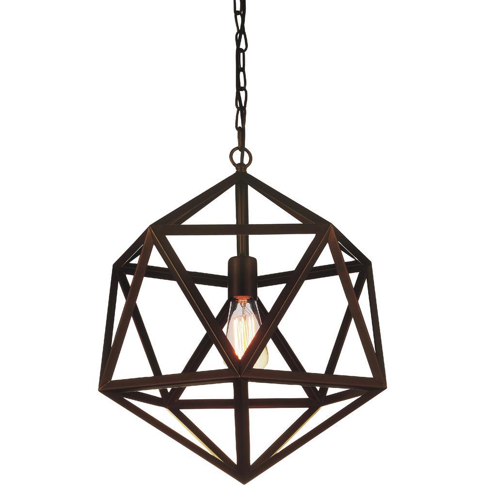 CWI Lighting Dia 1-Light Antique Copper Chandelier - CWI Lighting Dia 1-Light Antique Copper Chandelier-9603P20-1-128