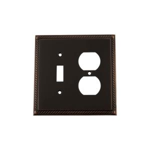 Nostalgic Warehouse Rope Switch Plate with Toggle and Outlet in Timeless Bronze by Nostalgic Warehouse