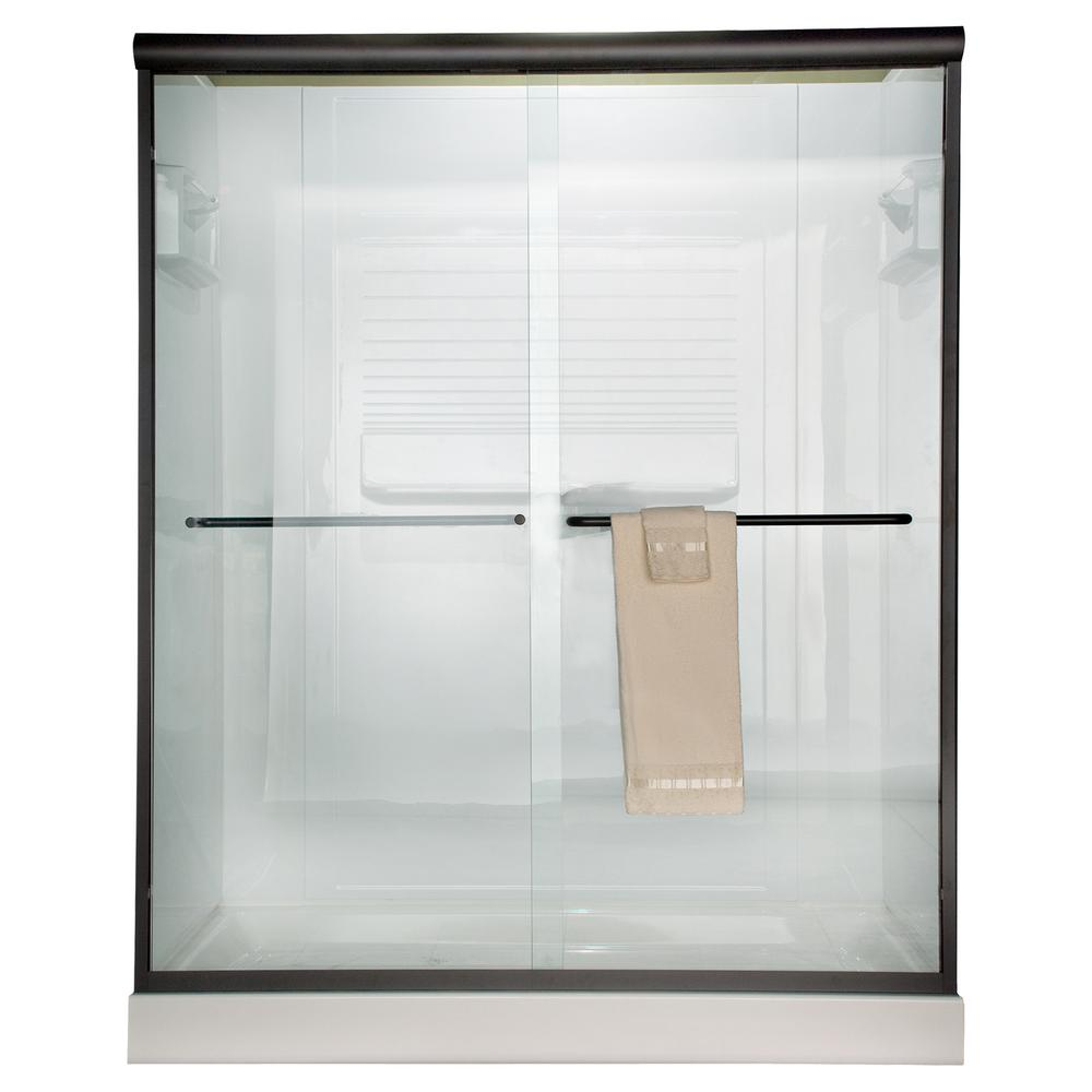American Standard Euro 60 in. x 65.5 in. Semi-Frameless Sliding Shower Door in Oil-Rubbed Bronze with Clear Glass
