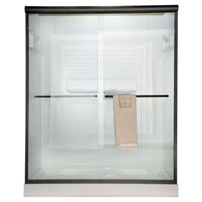 Euro 60 in. x 65.5 in. Semi-Frameless Sliding Shower Door in Oil-Rubbed Bronze with Clear Glass