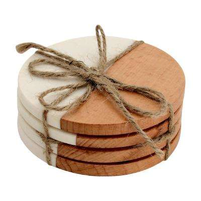 4-Piece Wood and White Fusion Marble Effect Coaster Set