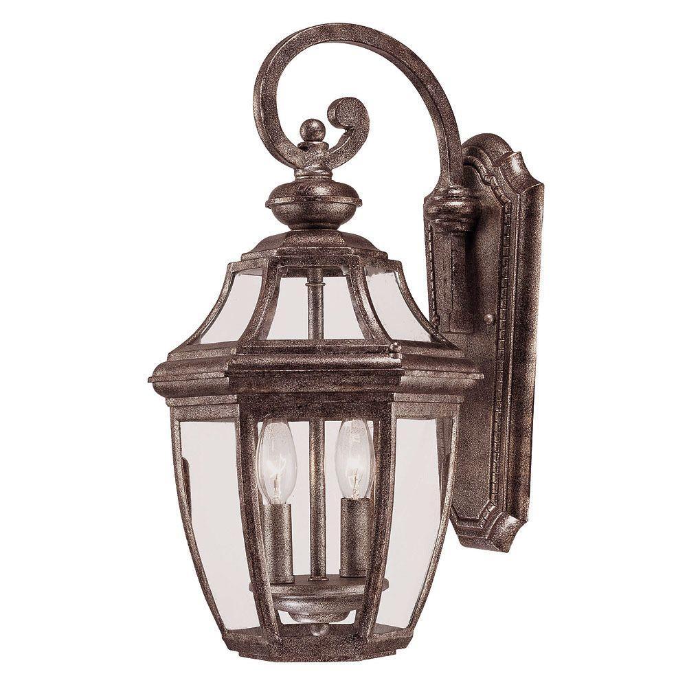 Illumine 2-Light Wall Mount Lantern Platinum Finish Clear Glass