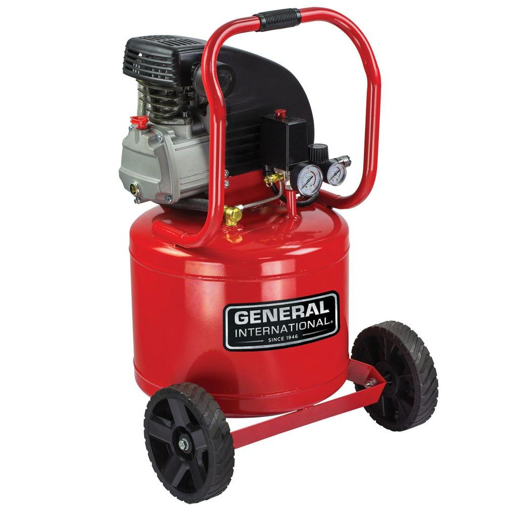 General International 11 Gal. 2 HP Oil-Lubricated Portable Electric Vertical Air Compressor with Wheel Kit