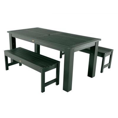 Lehigh Charleston Green 3-Piece Plastic Rectangular Outdoor Dining Set