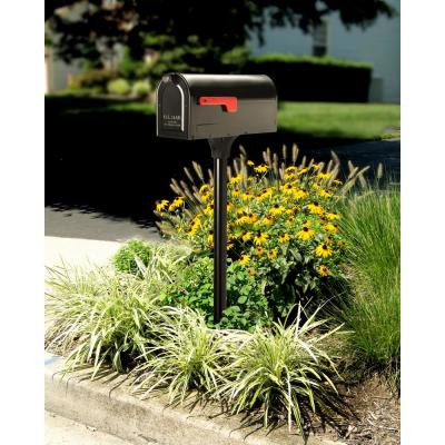 MB1 Post Mount Mailbox and 2 in. In-Ground Post Kit Black