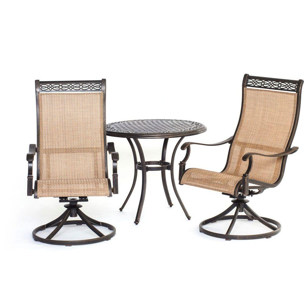 Hanover Manor 3 Piece Round Patio Bistro Set With Sling Back Swivel Chairs