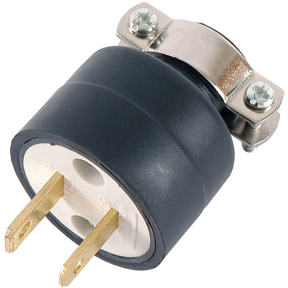 15-Amp 125-Volt Heavy Duty Polarized Plug with Metal Cord Clamp