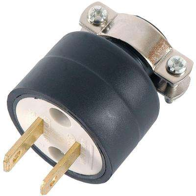 15-Amp 125-Volt Heavy Duty Polarized Plug with Metal Cord Clamp