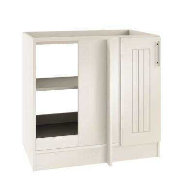 Assembled 39x34.5x24 in. Naples Open Back Blind Outdoor Base Corner Cabinet with Full Height Doors Left in Radiant White