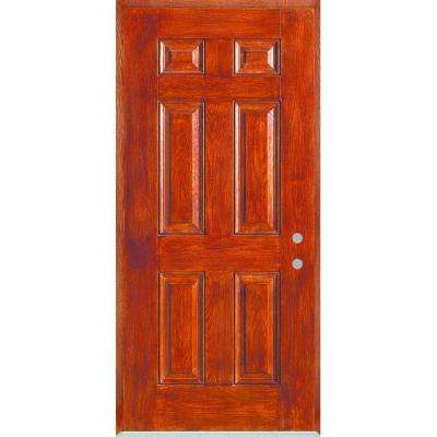 32 in. x 80 in. Left-Hand Infinity 6-Panel Stained Fiberglass Woodgrain Prehung Front Door with Brickmould