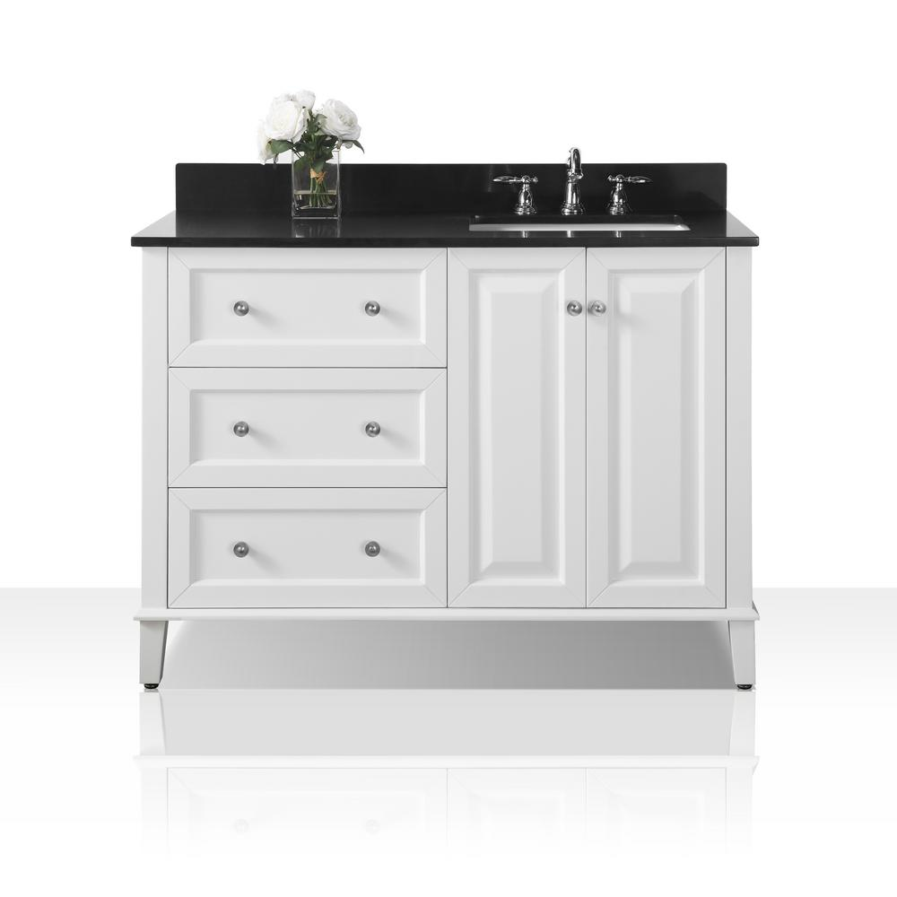 Ancerre Designs Hannah 48 in. W x 22 in. D Bath Vanity in White with Granite Vanity Top in Black with White Basin and Mirror