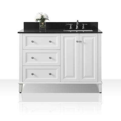 Hannah 48 in. W x 22 in. D Bath Vanity in White with Granite Vanity Top in Black with White Basin and Mirror