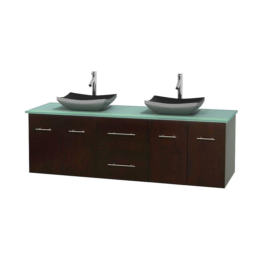 Wyndham Collection Centra 72 in. Double Vanity in Espresso with Glass Vanity Top in Green and Black Granite Sinks