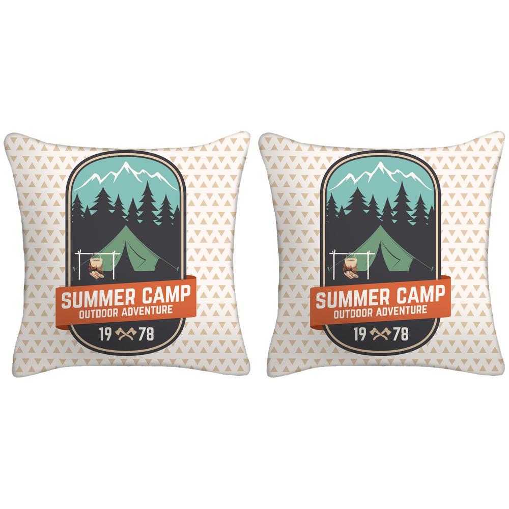 18 in. Summer Camp Outdoor Adventure Toss Pillows (Set of 2)