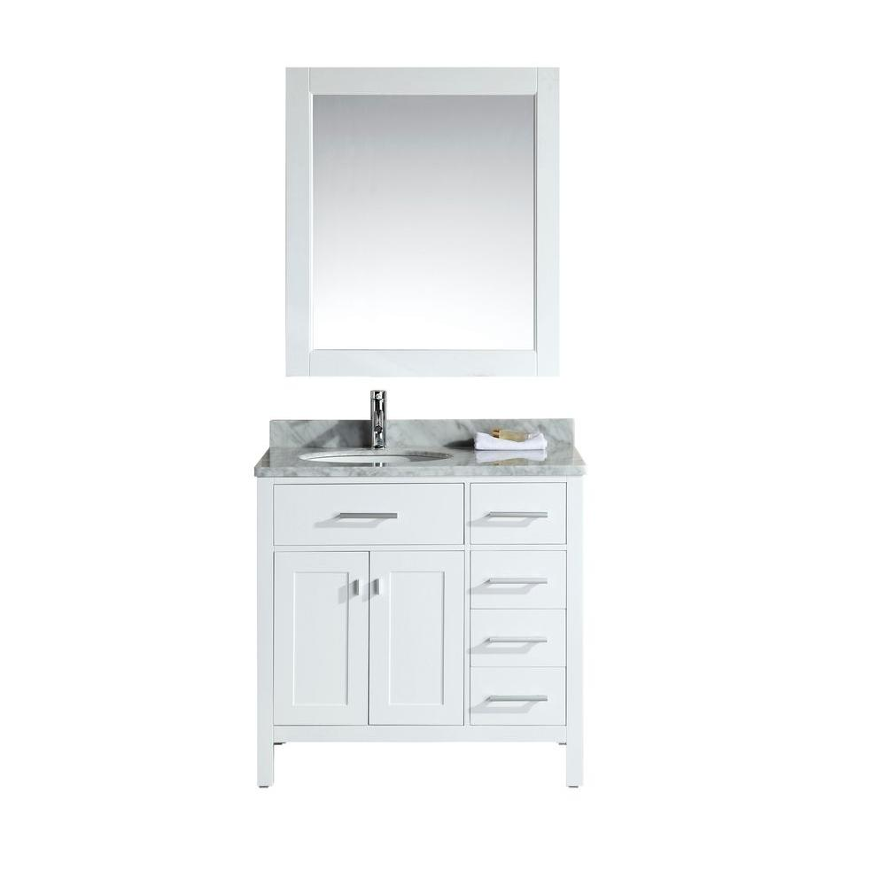 Design Element London 36 in. W x 22 in. D Single Vanity in White ...