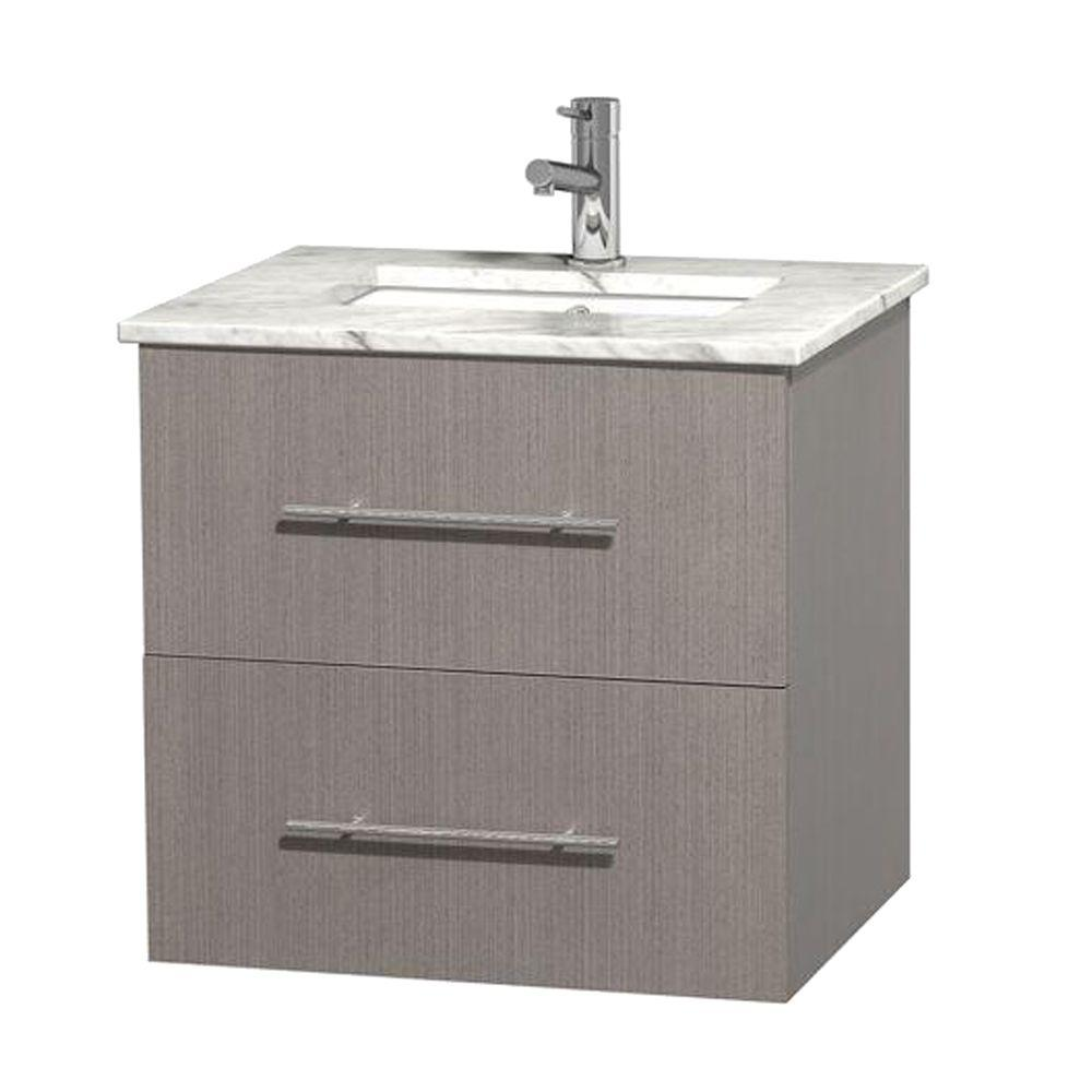 Wyndham Collection Centra 24 In Vanity In Gray Oak With Marble Vanity Top In Carrara White And