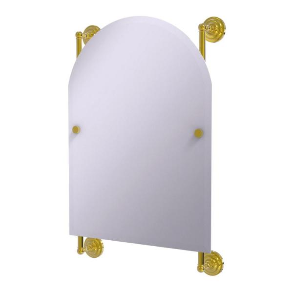 Prestige Que New Collection Arched Top Frameless Rail Mounted Mirror in Polished Brass