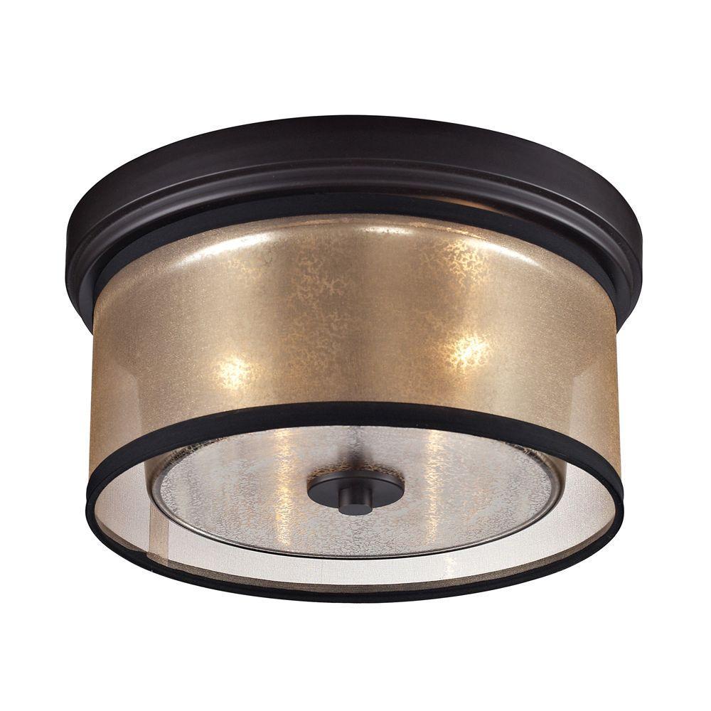 Titan Lighting Hearthstone Collection 2-Light Oil-Rubbed Bronze Flushmount
