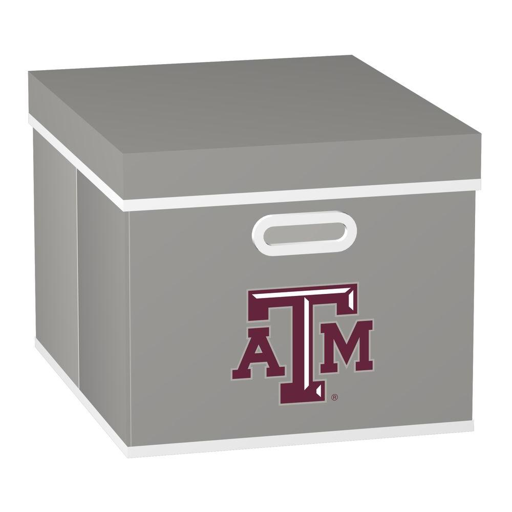 MyOwnersBox College STACKITS Texas A&M University 12 in. x 10 in. x 15 in. Stackable Grey Fabric Storage Cube