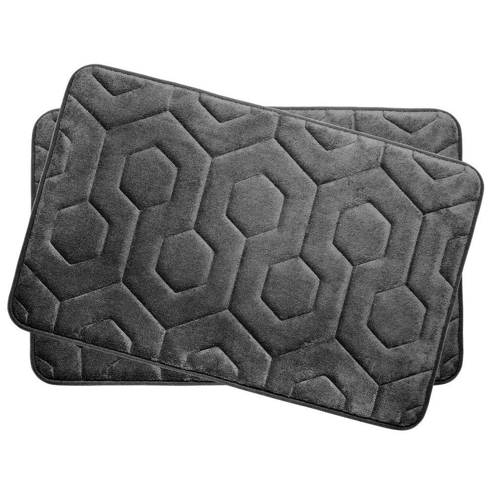 Hexagon Dark Gray 17 in. x 24 in. Memory Foam Bath Mat Set (2-Piece)