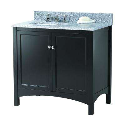 Haven 37 in. W x 22 in. D Vanity in Espresso with Granite Vanity Top in Napoli with Left Offset White Sink