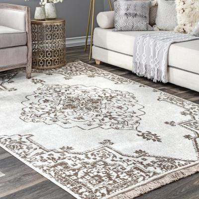 Yevette Vintage Medallion Beige 9 ft. x 12 ft. Indoor/Outdoor Area Rug