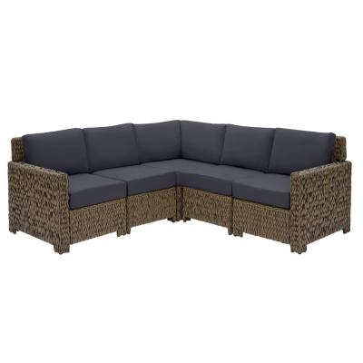 Laguna Point 5-Piece Brown Wicker Outdoor Patio Sectional Sofa Set with CushionGuard Midnight Navy Blue Cushions
