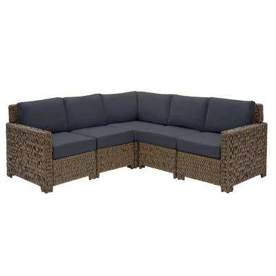 Laguna Point Brown 5-Piece Wicker Outdoor Patio Sectional Sofa Set with CushionGuard Midnight Navy Blue Cushions
