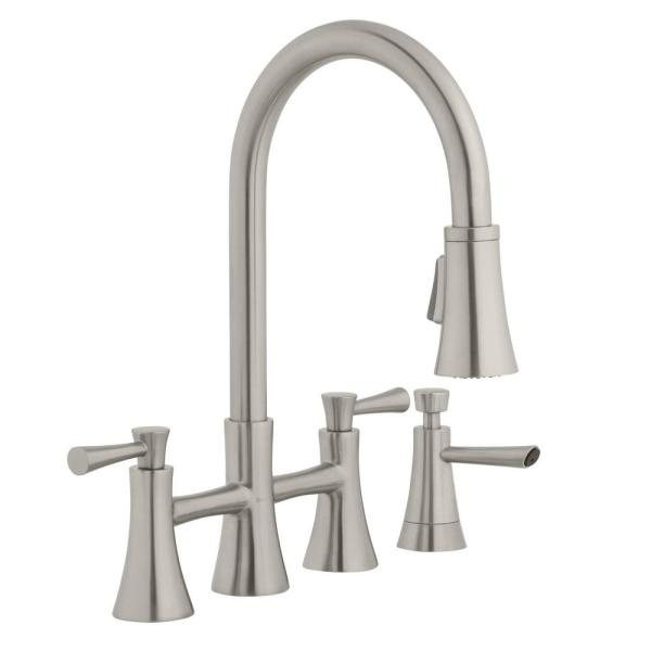 Glacier Bay Selma 2-Handle Pull-Down Sprayer Bridge Kitchen Faucet with Soap Dispenser in Stainless Steel