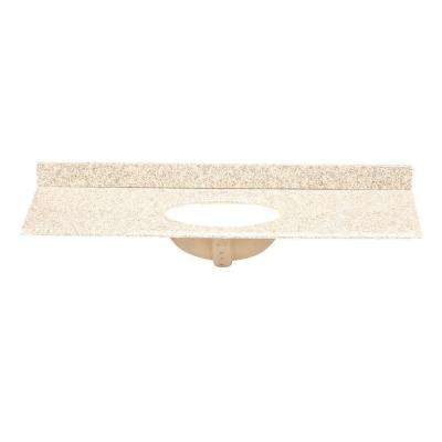 61 in. Granite Vanity Top in Golden Hill with White Basin