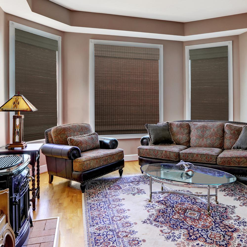 Home Decorators Collection Cordless Cut-to-Width Espresso Flatweave Bamboo  Roman Shade - 23.5 in. W x 72 in. L (Actual Size 23 in. W x 72 in. L)
