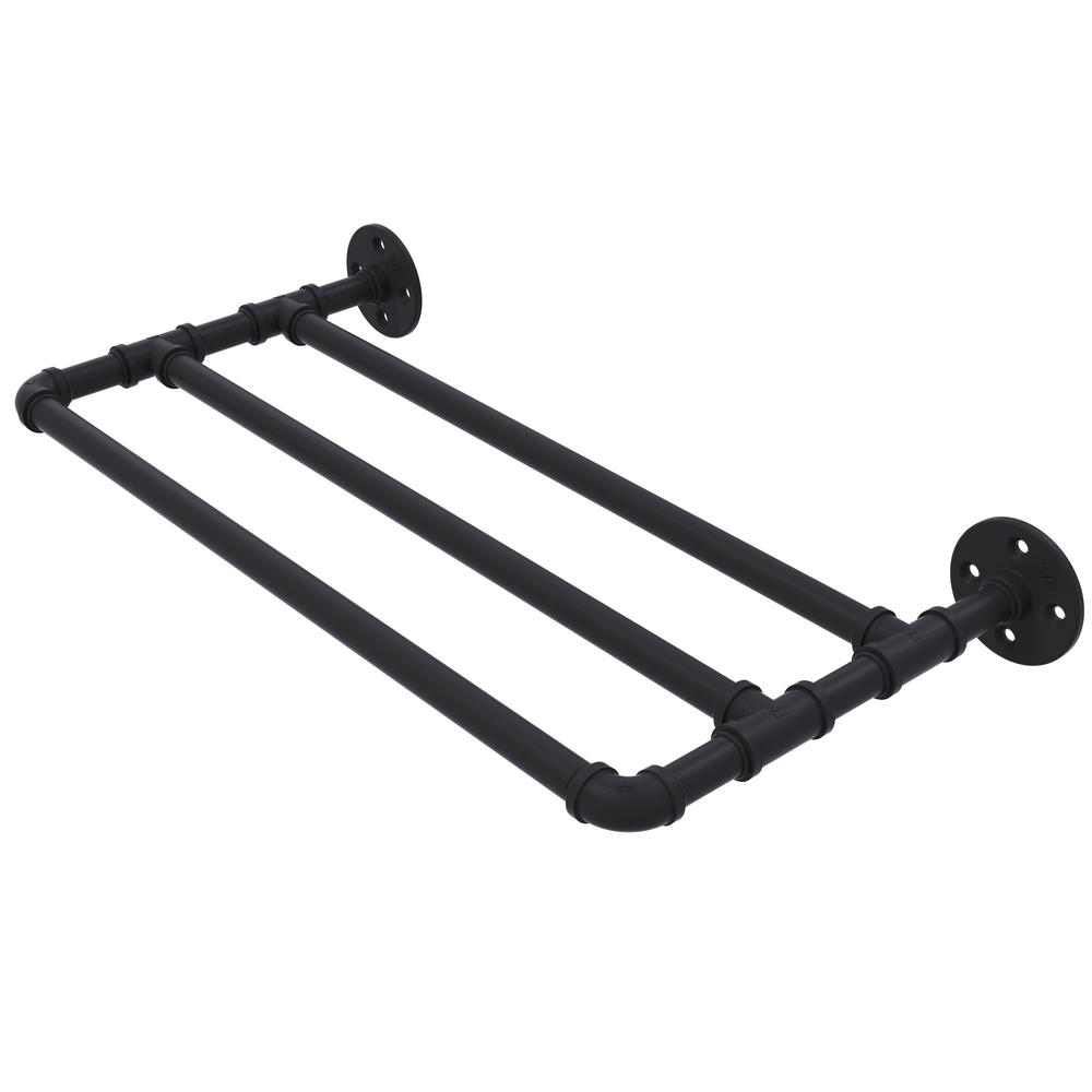 Pipeline Collection 24 in. Wall Mounted Towel Shelf in Matte Black