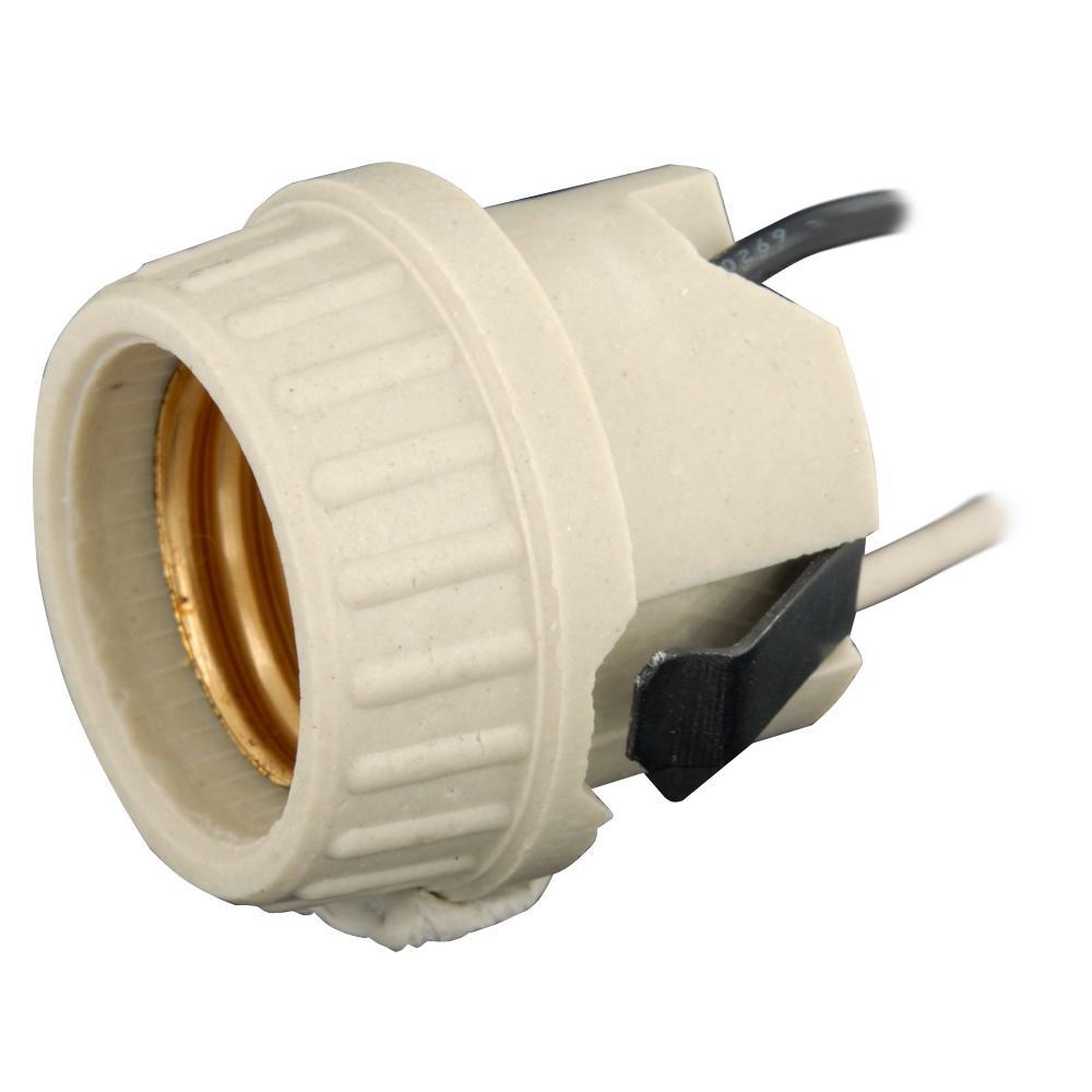 660W Medium Base with Brass Screw Shell Porcelain Incandescent Lampholder, White