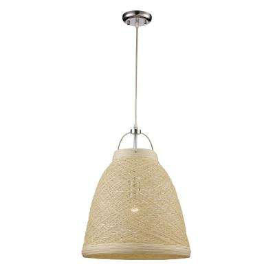 Basketweave 1-Light 23 in. Taupe Indoor Pendant