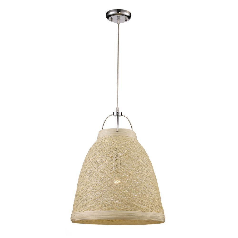 Basketweave 1-Light 23 in. Taupe Indoor Pendant