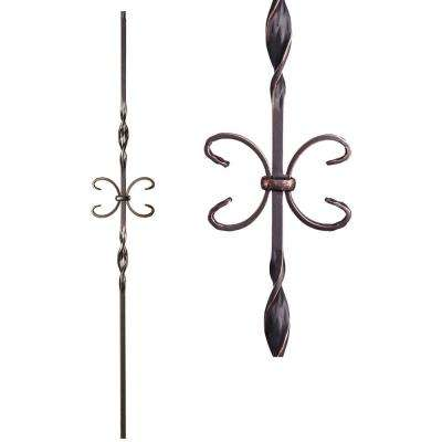 Ribbon Twist 44 in. x 0.5 in. Oil Rubbed Copper Double Ribbon Single Butterfly Solid Wrought Iron Baluster