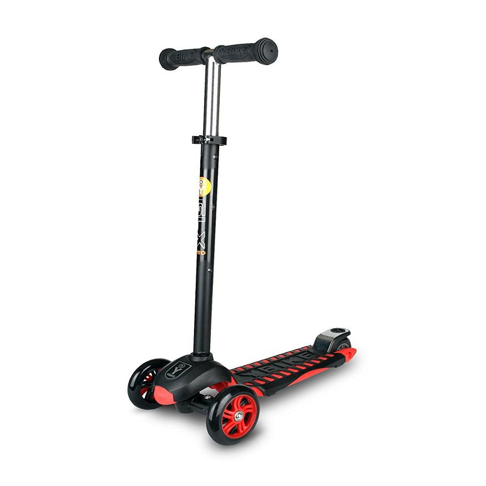 YBike Age 5 to 10, up to 110 lbs, GLX Pro Scooter, Black/Red