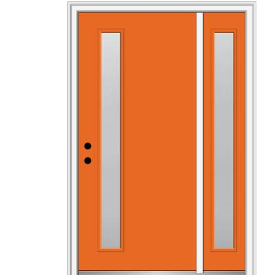 53 in. x 81.75 in. Viola Frosted Glass Right-Hand Inswing 1-Lite Midcentury Painted Steel Prehung Front Door w/ Sidelite