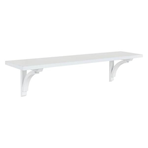 Kate and Laurel Corblynd 8 in. x 36 in. x 9 in. White Decorative Wall Shelf