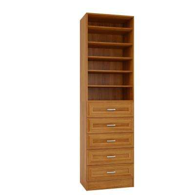 15 in. D x 24 in. W x 84 in. H Sienna Cognac Melamine with 6-Shelves and 5-Drawers Closet System Kit