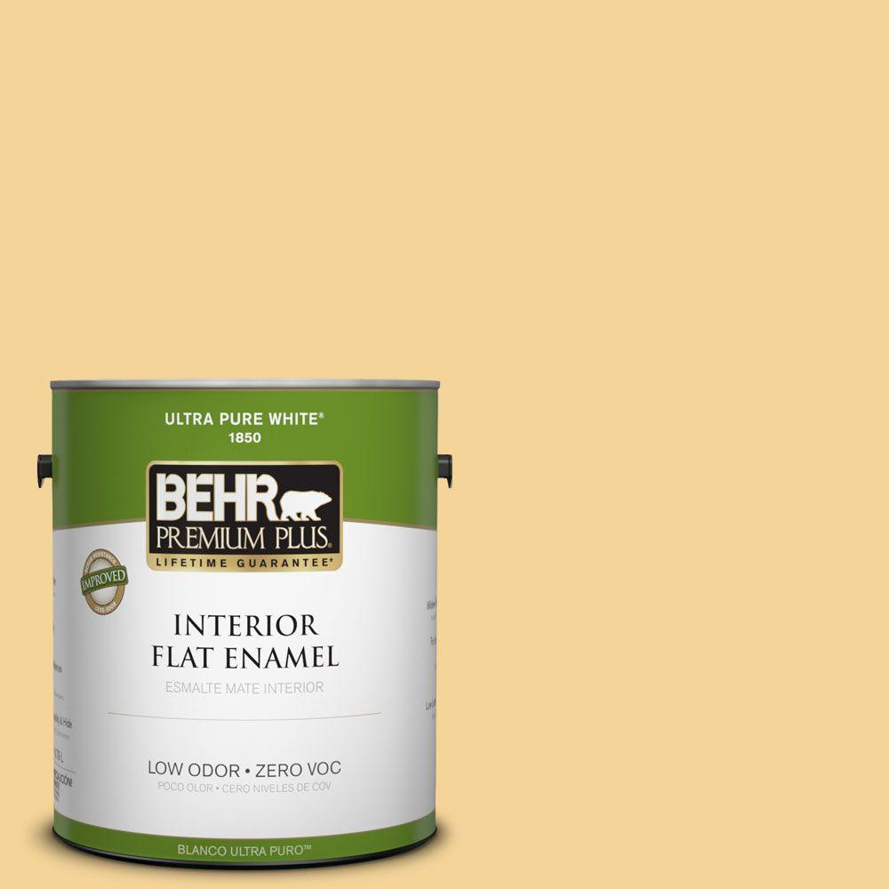 BEHR Premium Plus 1-gal. #350C-3 Applesauce Zero VOC Flat Enamel Interior Paint-DISCONTINUED