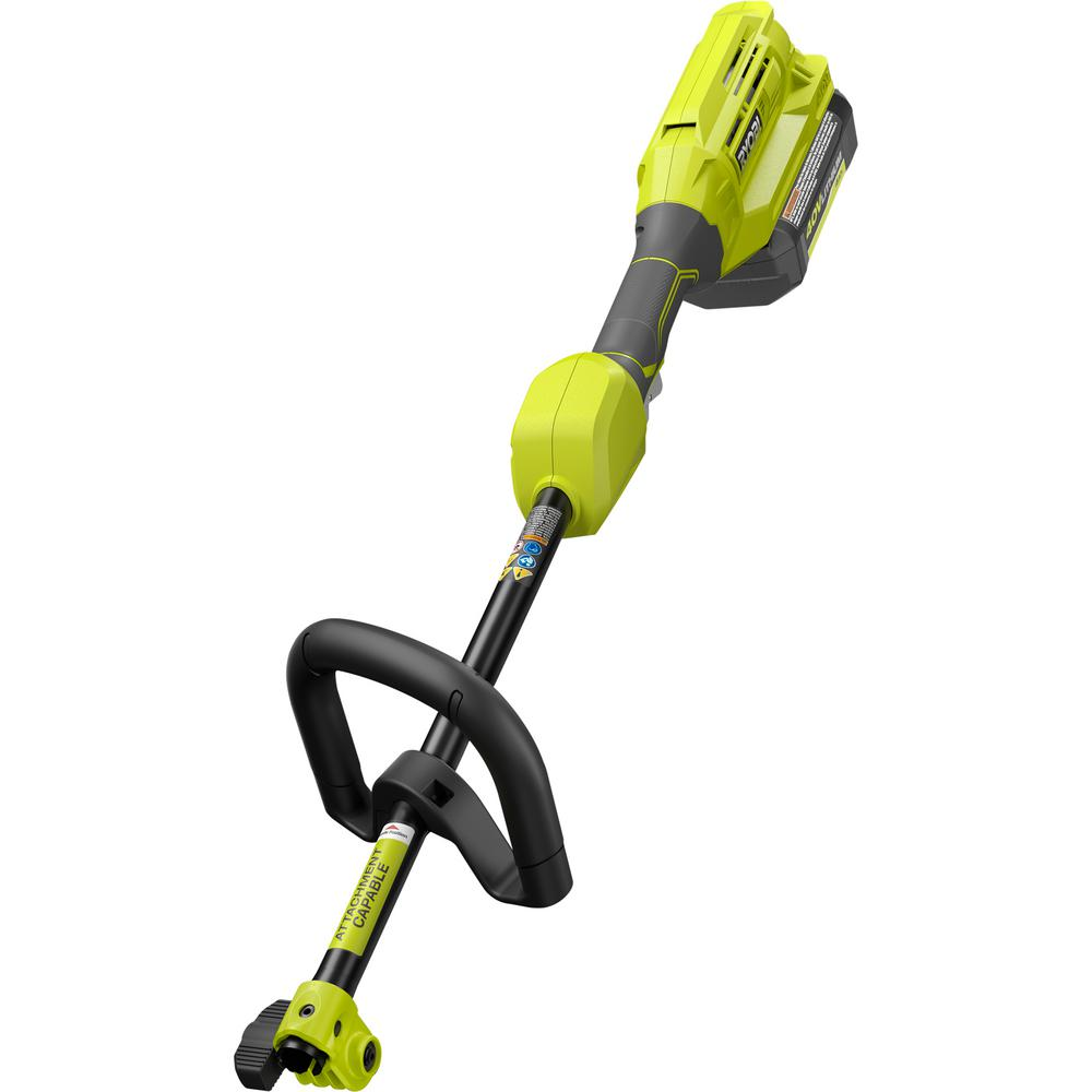 Ryobi Expand It 40 Volt Lithium Ion Cordless Attachment Capable Trimmer Power Head 4 Ah Battery And Charger Included Ry40226 The Home Depot