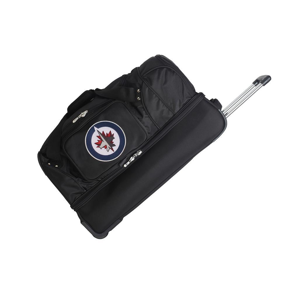 Denco NHL Winnipeg Jets 27 in. Black Rolling Bottom Duffel Bag