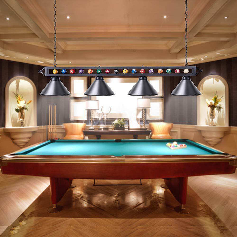 Casainc 4 Lights Black Billiard Lamp 70 Pool Table Light With Metal Shades Adjustable Snooker Pool Table Lights Xd 004 Black The Home Depot