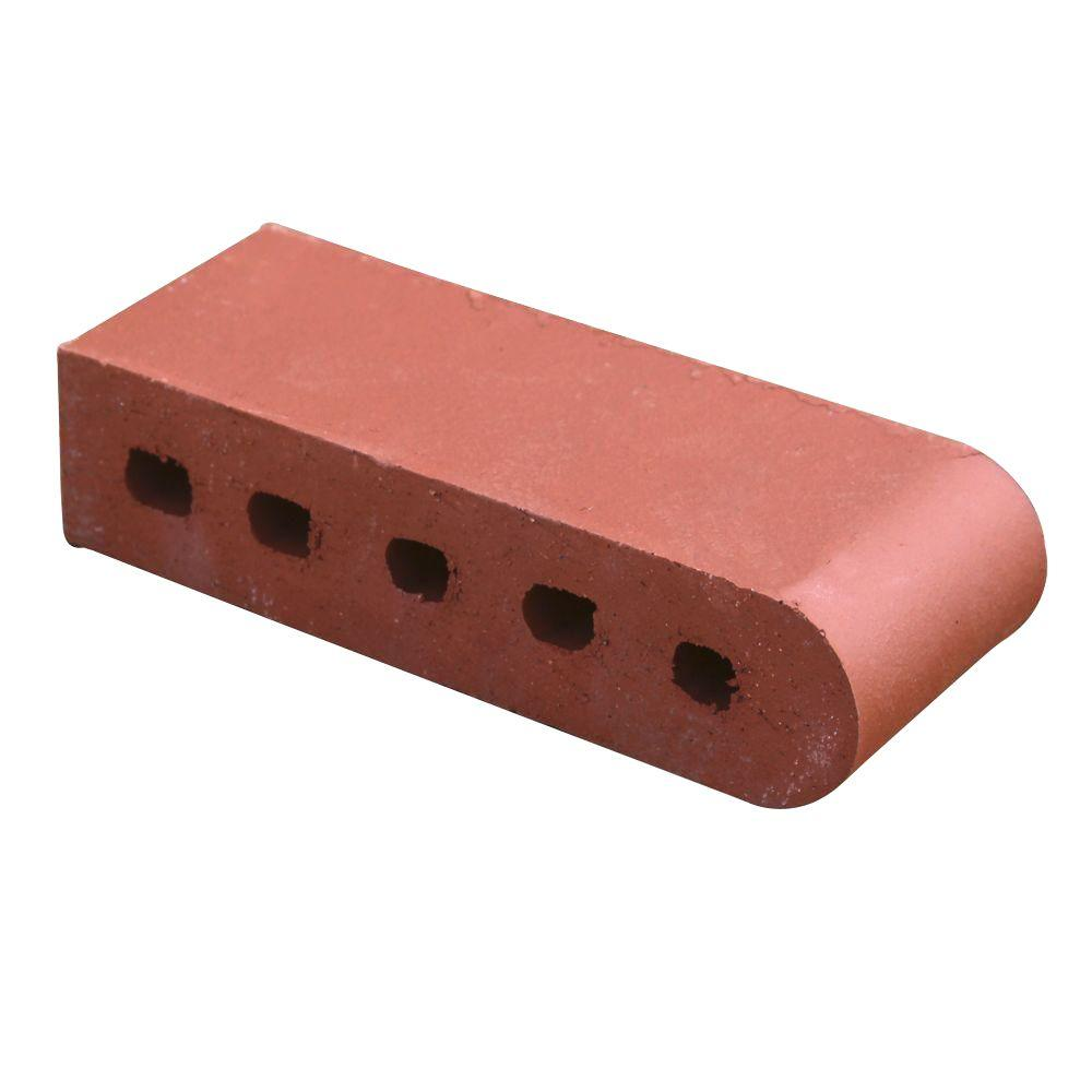 3-1/2 in. x 2-3/16 in. x 9 in. Clay Sunset Red Bullnose Cored Brick