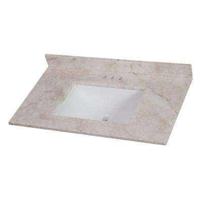 37 in. W x 22 in. D Stone Effects Vanity Top in Dune with White Sink