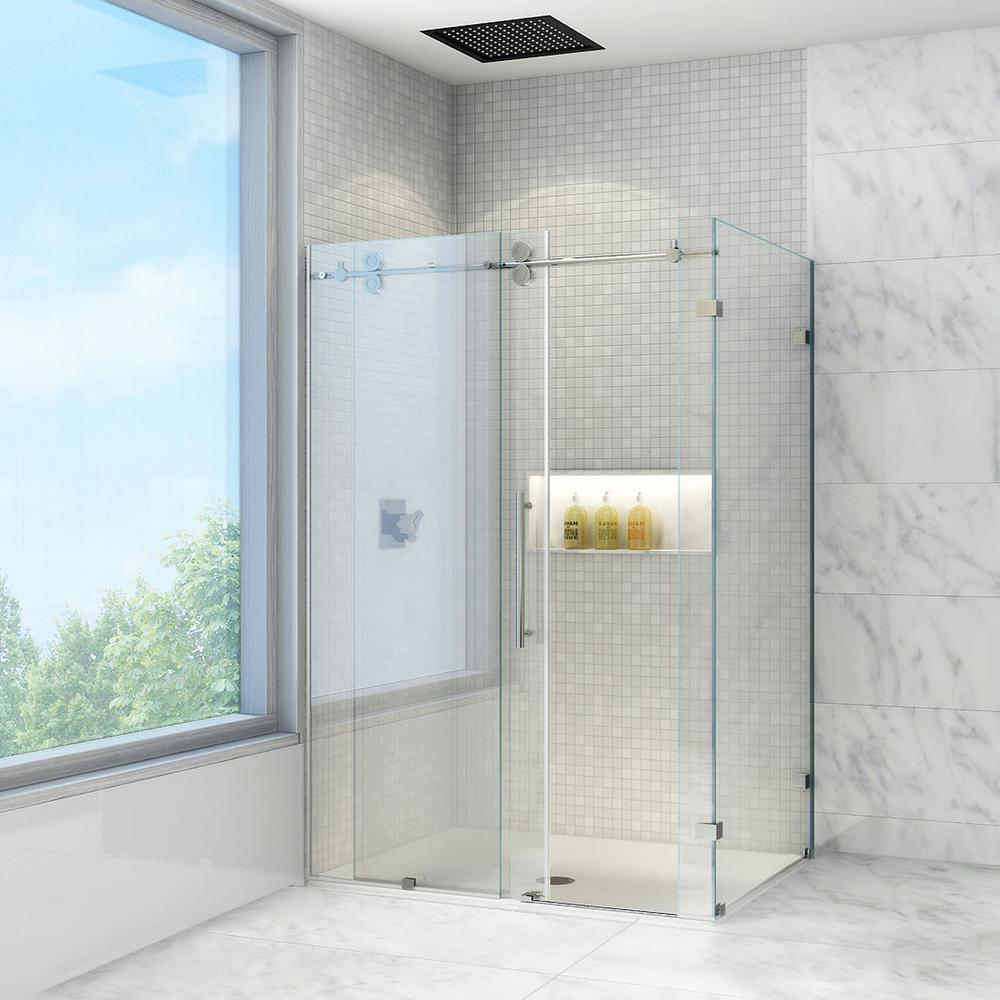 Frameless Bypass Shower Enclosure in Stainless Steel & VIGO Winslow 46.5 in. x 74 in. Frameless Bypass Shower Enclosure ... Pezcame.Com