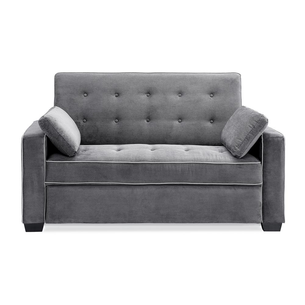 Augustus 36 in. Grey Polyester 2-Seater Convertible Tuxedo Sofa with Square Arms